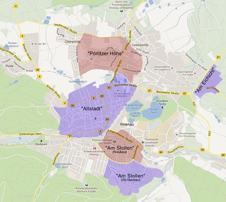 Karte Wohngebiete